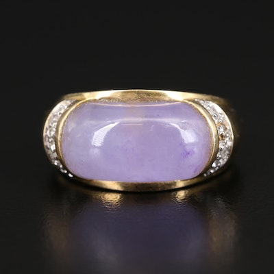 14K Jadeite and Diamond East-West Domed Ring