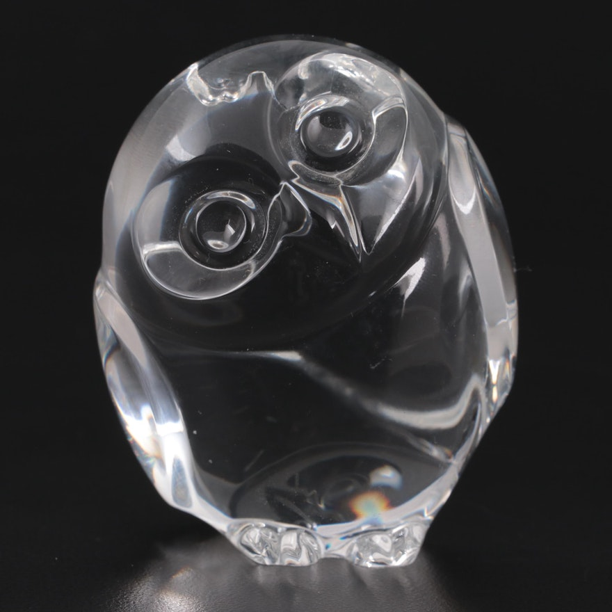 """Steuben Art Glass """"Owl"""" Hand Cooler Designed by Lloyd Atkins, 1980"""