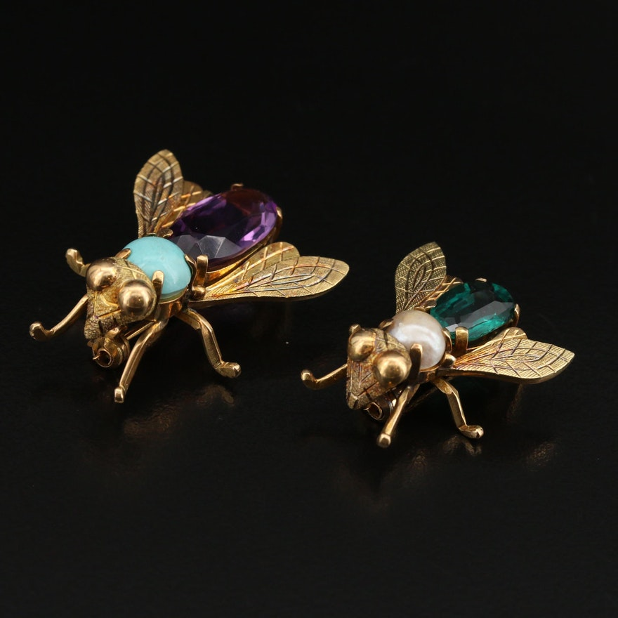 18K Turquoise, Amethyst, Garnet Glass Doublet and Pearl Fly Brooches
