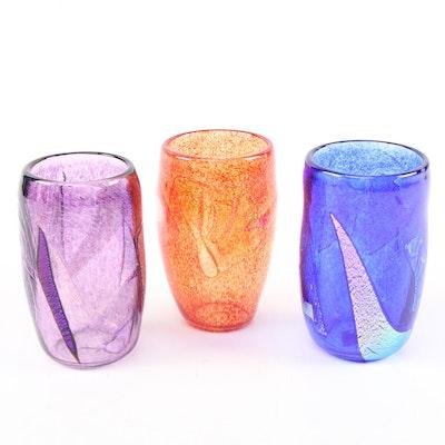 Meryl Wolper Dichroic Metallic Art Glass Tumblers, 2004