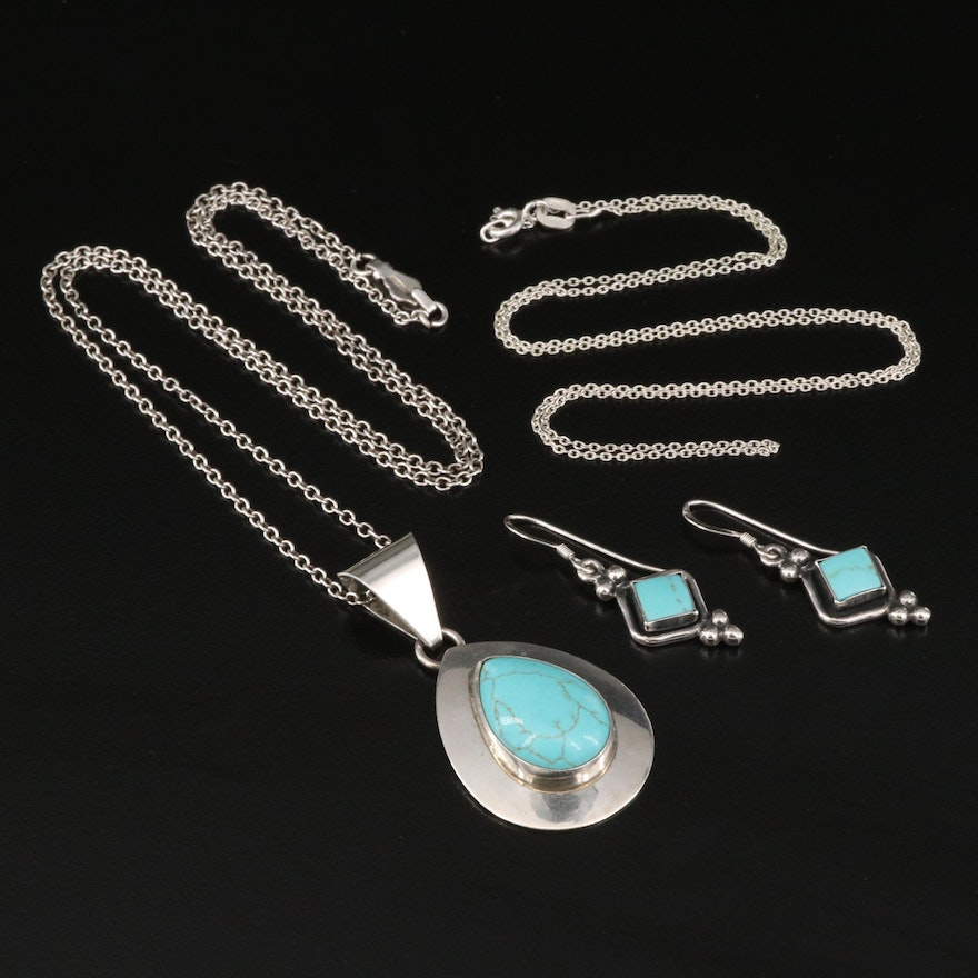 Sterling Imitation Turquoise Pendant Necklace and Earrings Plus Chain Necklace