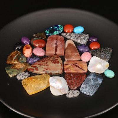 Loose Mixed Gemstones Including Jasper, Agate and Azuramalachite