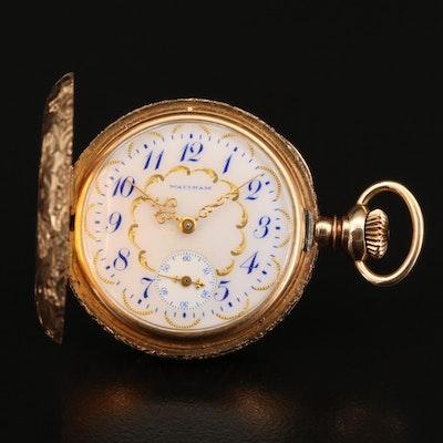 1908 Waltham 14K Diamond Pocket Watch with Ornate Dial
