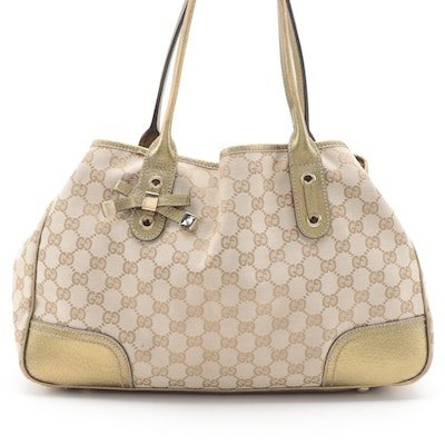 Gucci Princy Tote in GG Canvas with Metallic Gold Leather Trim