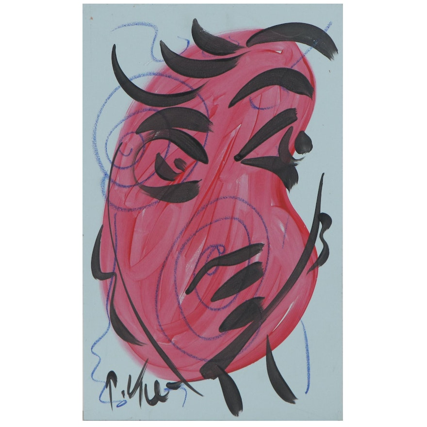 Peter Keil Abstract Mixed Media Portrait Painting