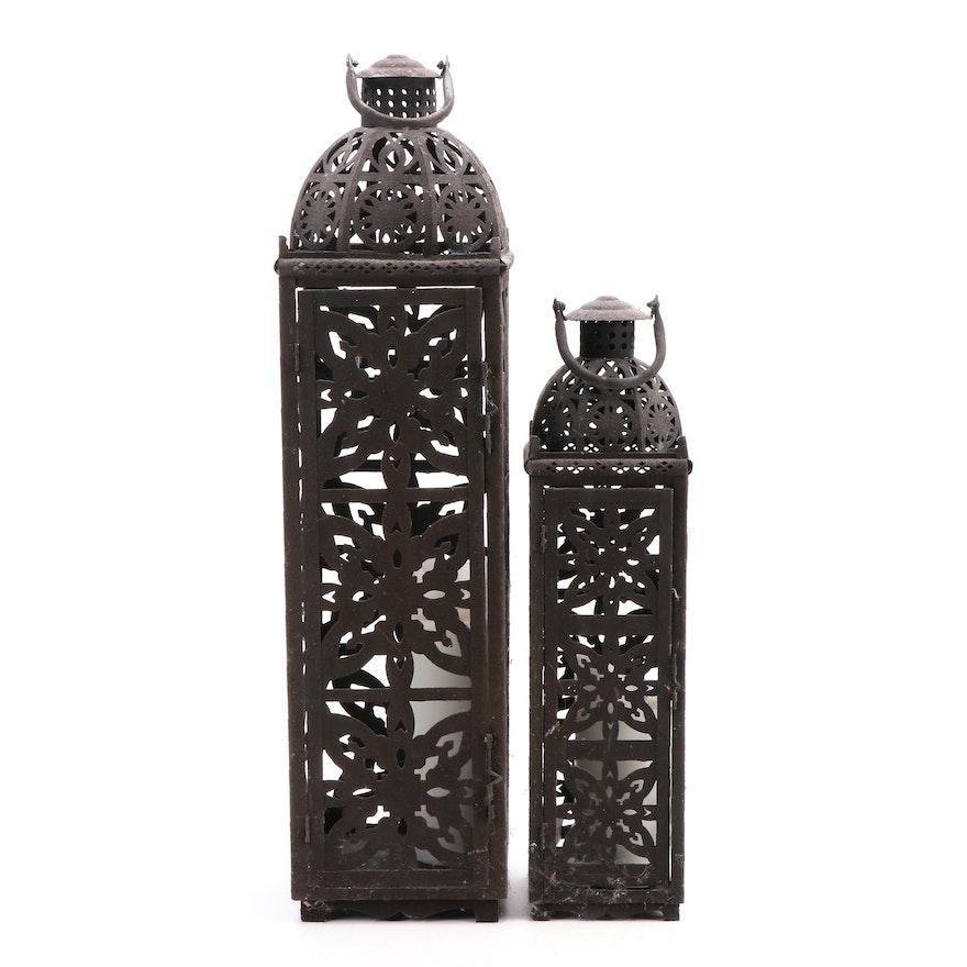 Pierced Metal Candle Holder Lanterns