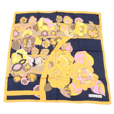 Christian Dior Abstract Floral Print Silk Twill Scarf