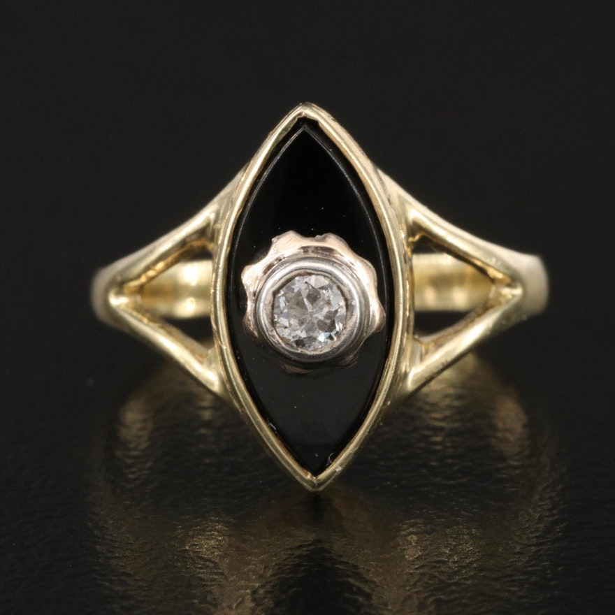 Vintage 14K Diamond and Black Onyx Navette Ring with Sterling Accent