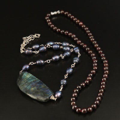Labradorite, Pearl and Garnet Necklaces with Sterling Silver