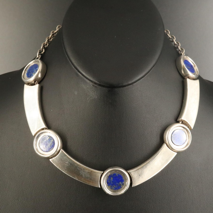 Sterling Lapis Lazuli Collar Necklace