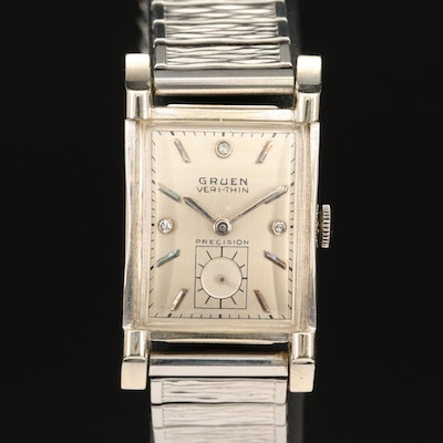 Vintage Gruen 14K Veri-Thin, Diamond Dial Wristwatch