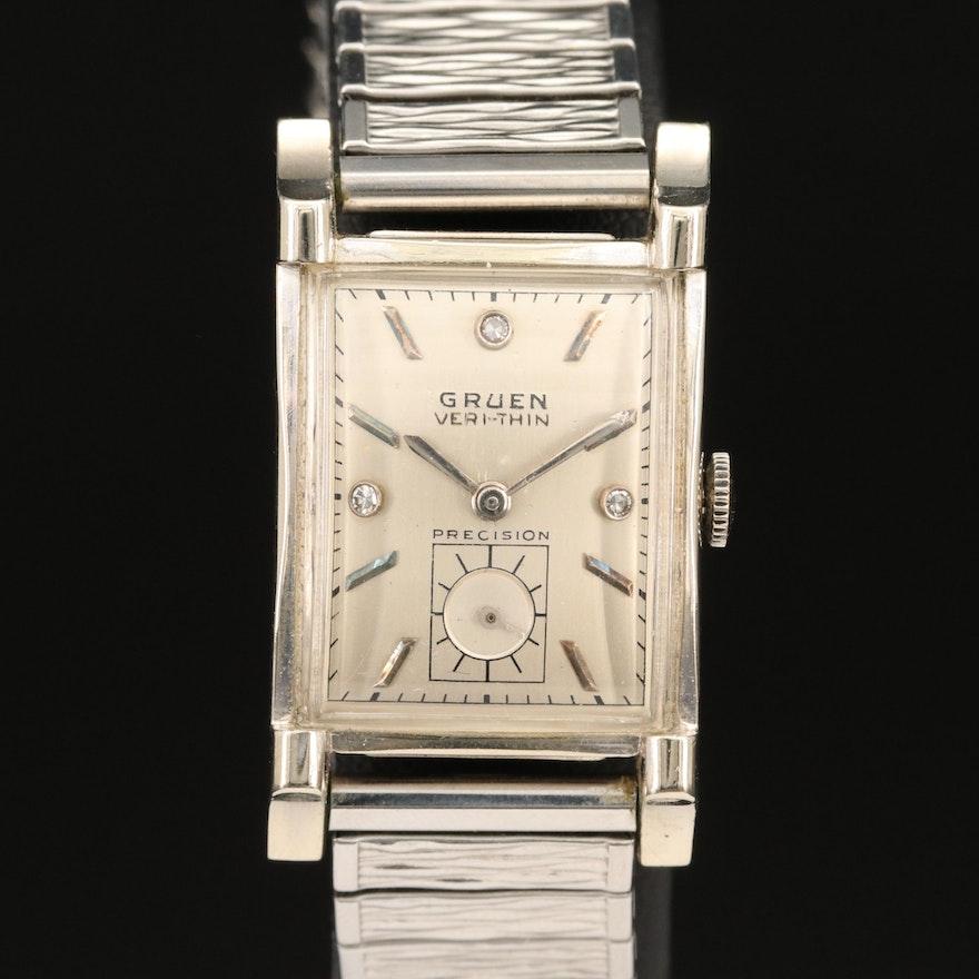 Vintage Gruen 14K Veri-Thin, Diamond Dial Wristwatch