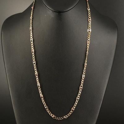 Italian 14K Triple Color Figaro Chain Necklace