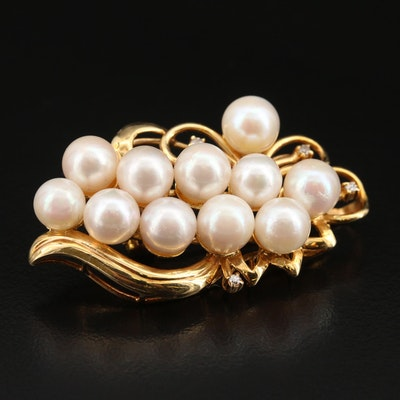 14K Pearl and Diamond Cluster Converter Brooch