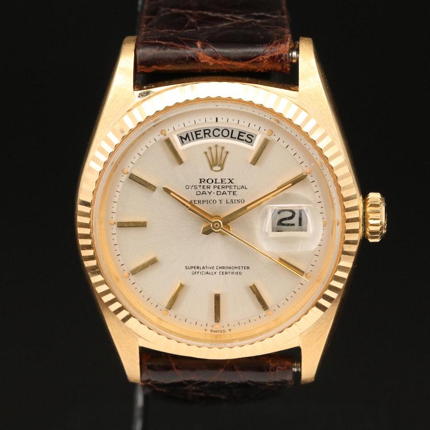 "1965 Rolex Day-Date ""Serpico Y Laino"" 18K Gold Wristwatch"