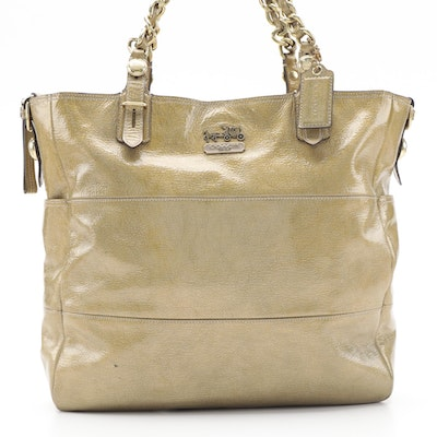 Coach Gold Metallic Patent Leather Shoulder Tote
