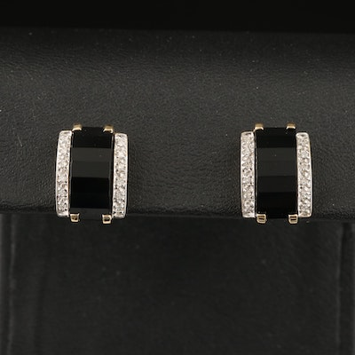 14K Black Onyx and Diamond Earrings