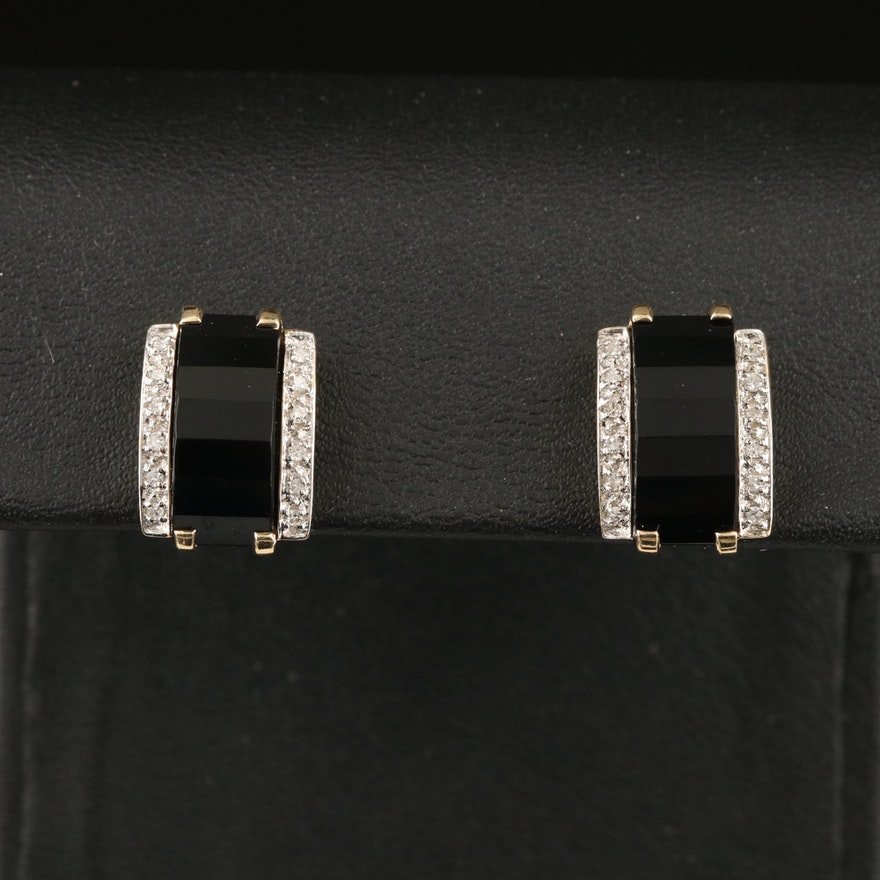 14K Black Onyx and Diamond Earrings