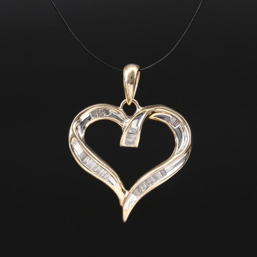 10K Diamond Heart Pendant