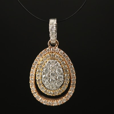 18K Diamond Double Halo Pendant