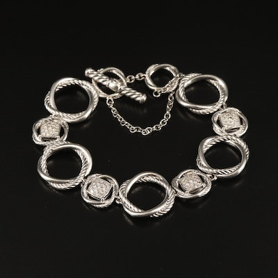 "David Yurman ""Infinity"" Sterling Pavé Diamond Bracelet with Pouch"