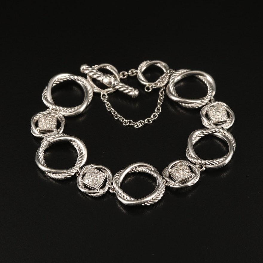 """David Yurman """"Infinity"""" Sterling Pavé Diamond Bracelet with Pouch"""