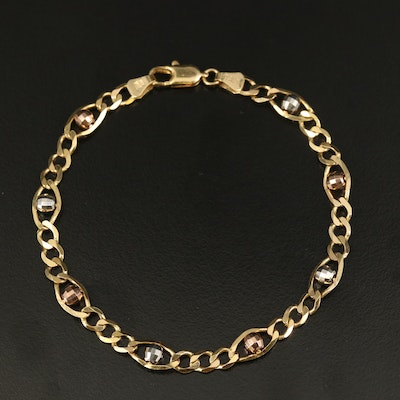Italian 14K Tri-Color Gold Figaro Chain Bracelet