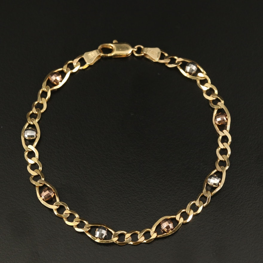 Italian 14K Tri-Color Gold Figaro Chain Bracelet