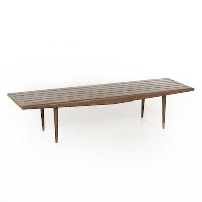Mid Century Modern Pecan-Finish Slat Bench