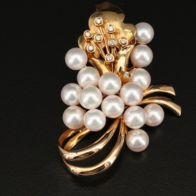 Vintage 14K Pearl and Diamond Flower Brooch