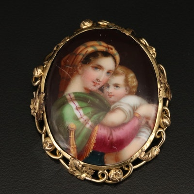 Victorian Ceramic Portrait Brooch