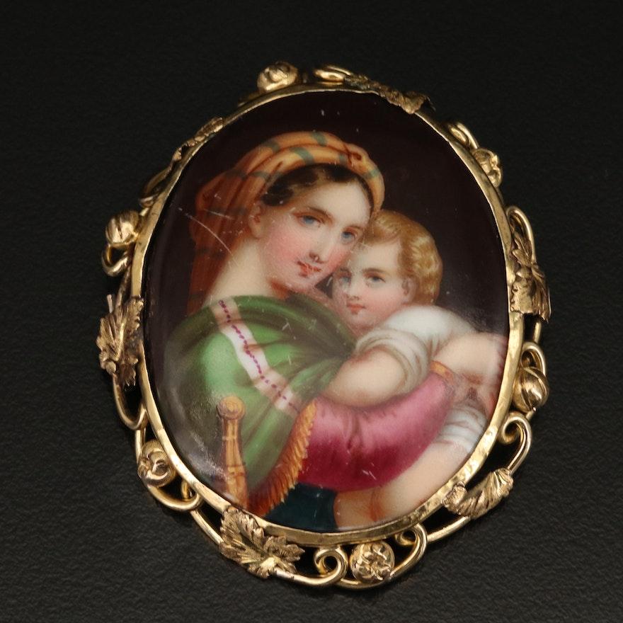 Victorian Ceramic Portrait Brooch