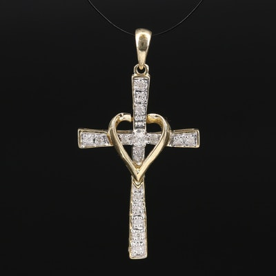 10K Diamond Cross and Heart Pendant