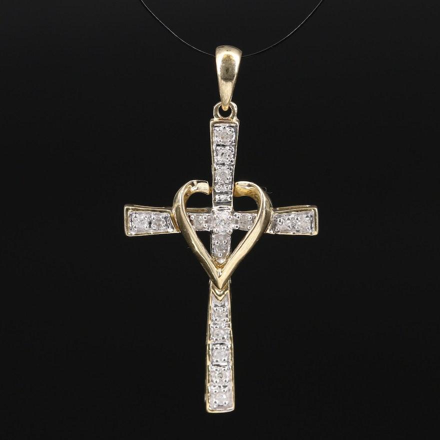 10K Diamond Cross and Heart Pendant