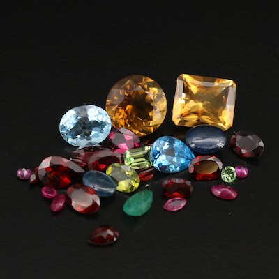 Loose 32.43 CTW Gemstones Including Citrine, Garnet and Sapphire