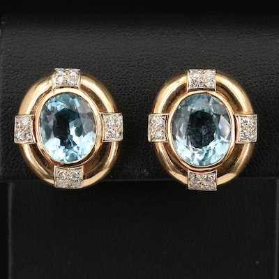 14K Topaz and Diamond Non-Pierced Earrings