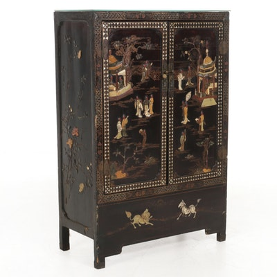 Chinese Lacquered Wood with Stone and Mother-of-Pearl Inlay, 20th Century