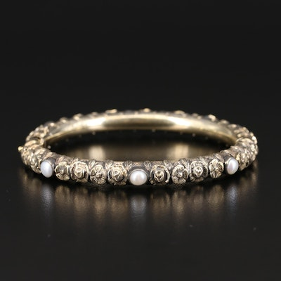 Vintage 18K Pearl Floral Hinged Bangle