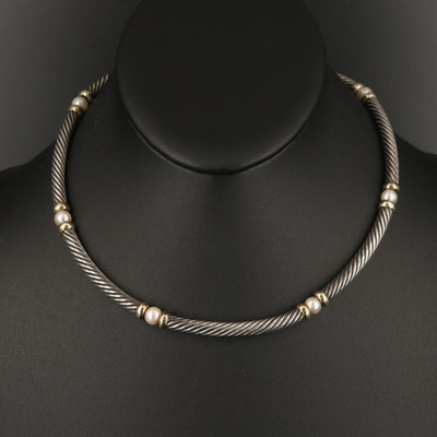 "David Yurman ""Hampton"" Sterling Pearl Station Necklace with 14K Accents"