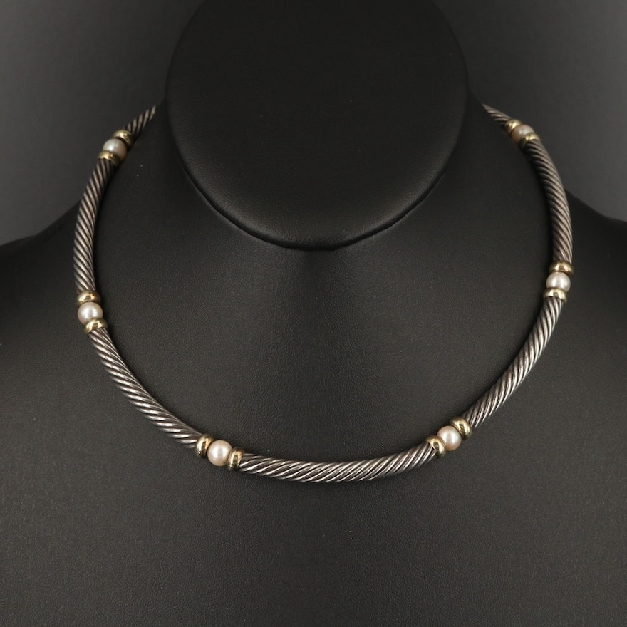 """David Yurman """"Hampton"""" Sterling Pearl Station Necklace with 14K Accents"""