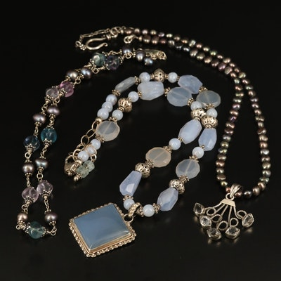 Sterling Fluorite, Pearl and Chalcedony Beaded Necklaces