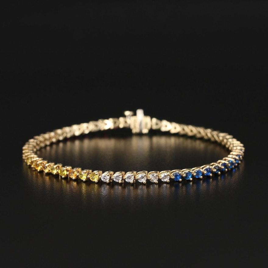14K Cubic Zirconia, Ruby, Spinel and Diamond Line Bracelet