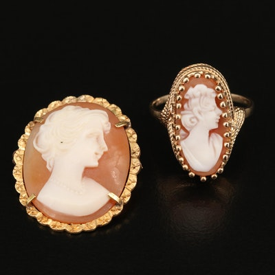 Vintage 14K Cameo Ring and 18K Cameo Brooch