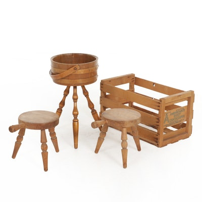 Pair of Milking Stools, Knitting Stand and Produce Crate
