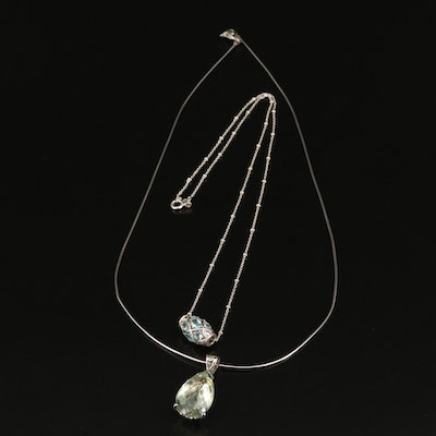Sterling Silver Prasiolite and Faceted Glass Necklaces