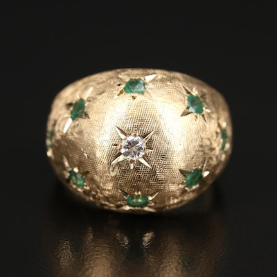 1960s 14K Emerald and Diamond Domed Ring with Florentine Finish