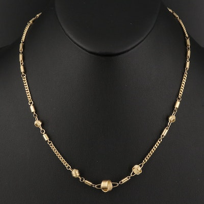 Vintage Italian 18K Chain Necklace with Knot Link Detail