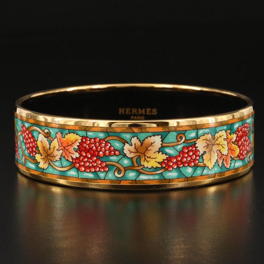 Hermès Enamel Bangle with Grapevine Pattern