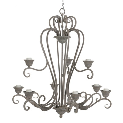 Rustic Style Patinated Nine-Arm Wrought Metal Chandelier