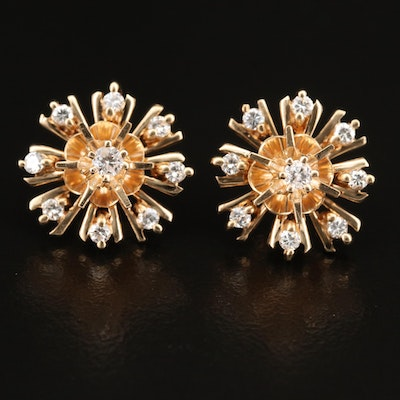 14K Diamond Buttercup Stud Earrings and Starburst Jackets